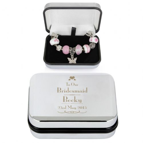 Personalised Decorative Wedding Bridesmaid Silver Box and Pink 21cm Charm Bracelet